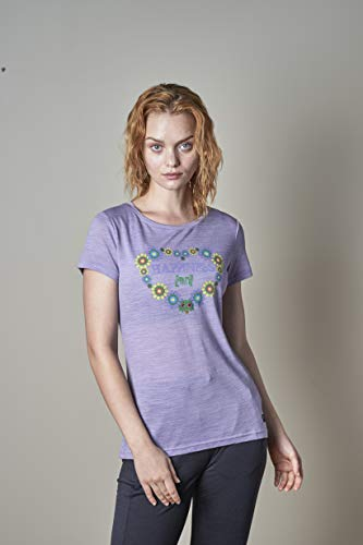 super.natural W T-Shirt à Manches Courtes pour Femme XS Wisteria Melange/Variousflower Power