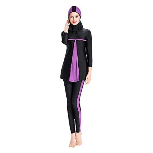 Lazzboy Frauen Muslimischen Badeanzug Mit Cap Printing Beachwear Bademode Muslimische Damen, Hijab-Schwimmanzug, Badeanzug, Sportkleidung(Lila,L)
