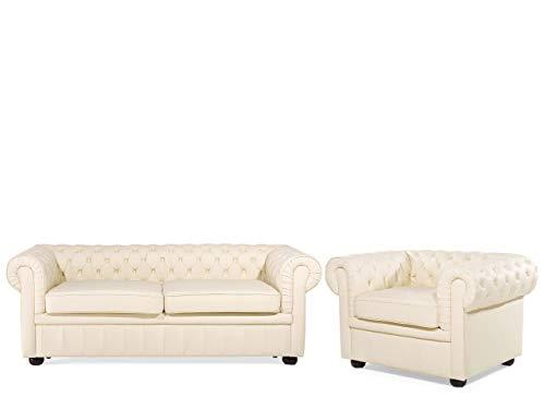 Conjunto de sofás de Piel 4 plazas Crema Chesterfield