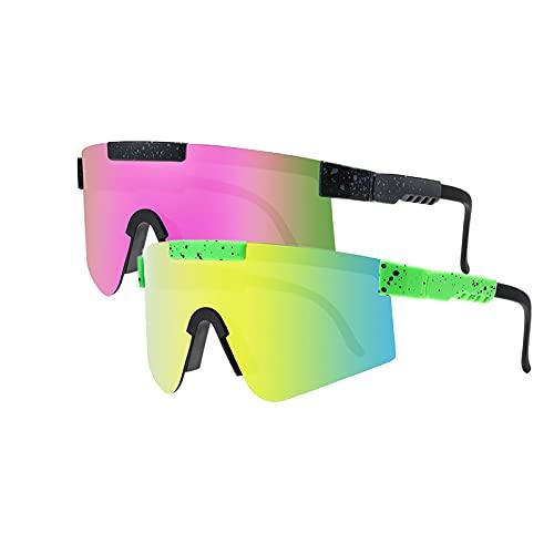 Tmpty Gafas de sol polarizadas para mujeres y hombres, 2 unidades UV400, protección anti-UV, gafas de sol deportivas, béisbol, pesca, esquí, correr, golf (color: C2, PC: 2 unidades)