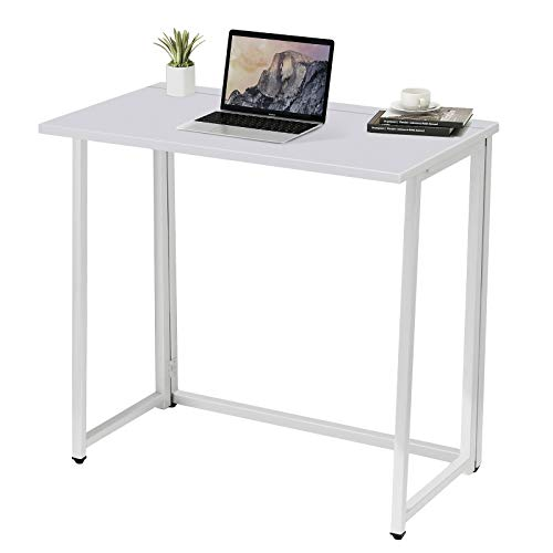 Folding Computer Desk - No Assembly Compact Writing Study Desk for Small Spaces Home Office Desk (White)