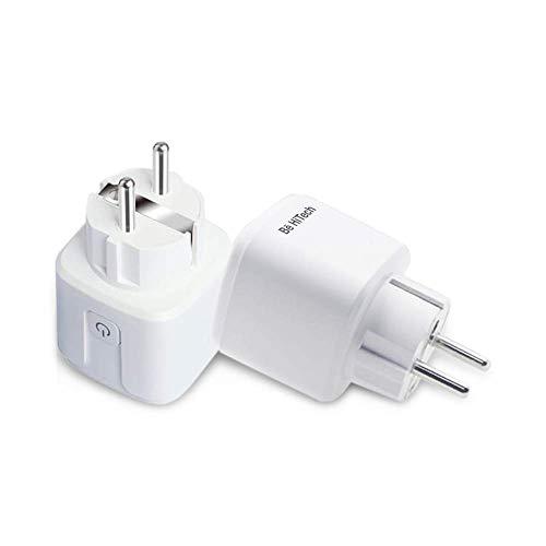 2 Prese Intelligente WiFi Smart Plug Spina Compatibile con Google Home/Amazon Alexa/IFTTT,BE HI-TECH Energy Monitor Controllo Remoto Monitoraggio Energia 2 Prese Wireless per iOS Android App