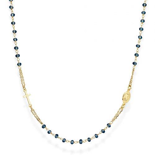 Amen Collana In Argento 925 Collezione Rosari - Colore Oro - Misura Unica Rosario Girocollo Cristalli Blu