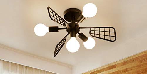 Plafondlamp van ijzer, plafondlampen van Scandinavisch ijzer, creatief, modern, eenvoudig voor woonkamer, slaapkamer, werkkamer, kinderkamer, persoonlijke verlichting E27 (grootte: 4 koppen)
