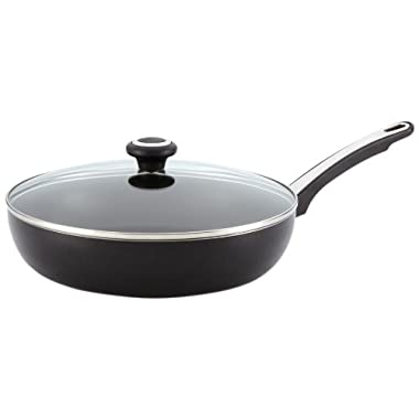 Farberware Dishwasher Safe High Performance Nonstick 12-Inch Covered Deep Skillet, Black