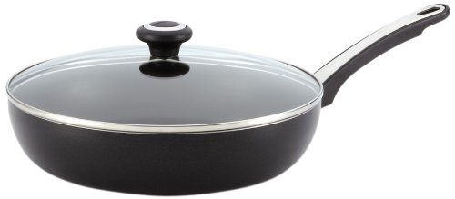 Farberware Dishwasher Safe High Performance Nonstick 12-Inch Covered Deep Skillet, Black - 21582