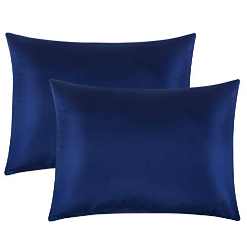FLXXIE 2 Pack Zippered Satin Pillowcases, Silky Soft and Luxury (Navy Blue, Standard)