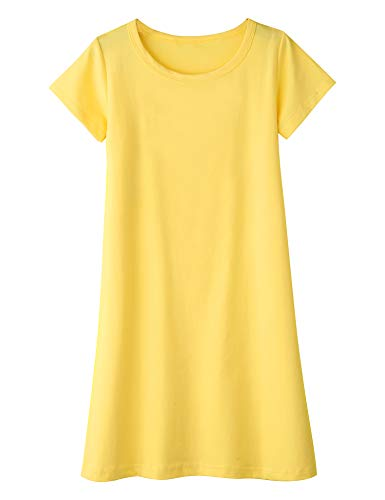 Arshiner Girls Dress Cotton Short Sleeve Solid Color Casual T-Shirt Dress Yellow