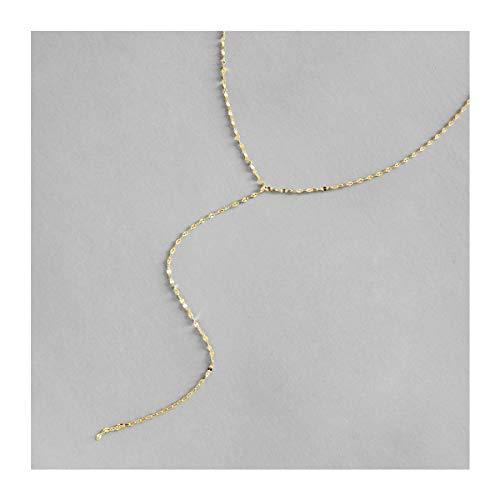 Lotus Fun S925 Sterling Silber Halskette Einfacher Vergoldung Langer Abschnitt Fliese Kette Halskette Natürlicher Kreativ Handgemachter Einzigartiger Frauen und Mädchen