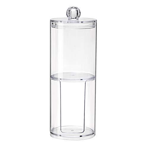 Hilai 1pc Acrylique Boite à Coton Demaquillant Distributeur de Coton Boîte de Rangement pour Cosmétiques Support étagère(Couche double)