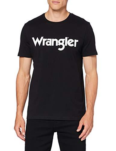 Wrangler Logo tee Camiseta, Real Black, L para Hombre