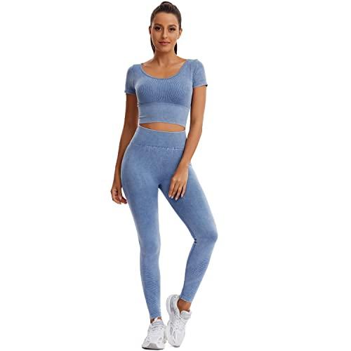 Joyshaper Jegging - Set da allenamento da donna, jeans, leggings sportivi, tuta da jogging, pantaloni da yoga, Blu, M