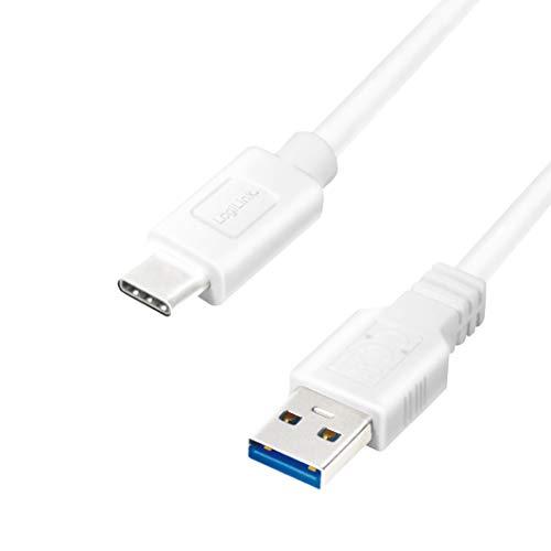LogiLink CU0174 USB 32 Gen 1x1 Anschlusskabel USB A zu USB C Weis 1m