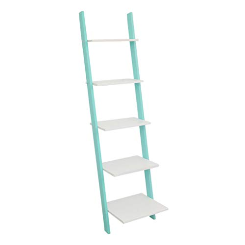 AVEO Bookshelf 3/4 /5 Tiers Wall Leaning Ladder Shelf Bookcase Home Bookshelf Storage Rack Shelves Storage Stand Organizer for Office Bedroom Bookcase (Color : Green, Size : Five Floors)