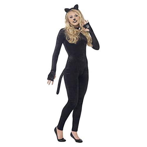 Smiffys Costume Gatto, Nero, comprende Tuta, Coda, Cerchietto con Orecchie Feline e Coll, Small