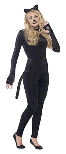 Smiffys Costume chat, Noir, avec combinaison, queue, bandeau oreille de chat & col - Small