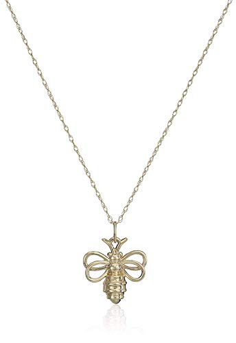 10k Yellow Gold Bumblebee Pendant Necklace With 18' Rope Chain