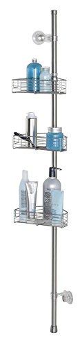 mDesign Staande Badkamer Douche Caddy Station voor Shampoo, Conditioner, Zeep - Hoek, Geborsteld RVS