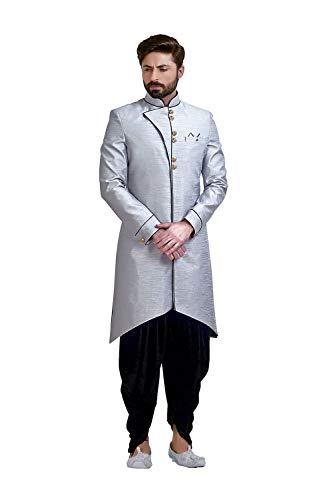 Indian Designer Partywear Traditional Ethnic Grey Mens Wear Kurta Pajama.