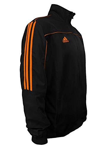 Adidas Martial Arts Light 3-Stripes Trainingsanzug, 100 % Polyester, langärmelig, Schwarz / Neon-Orange, Größe M