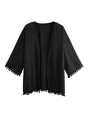MakeMeChic Women's Boho Fringe Trim Half Sleeve Chiffon Kimono Cardigan Beachwear Cover Up Loose Tops - Black - Small