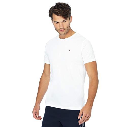 Tommy Hilfiger Cotton CN Tee SS Icon Maglietta, Bianco (Classic White 100), S Uomo