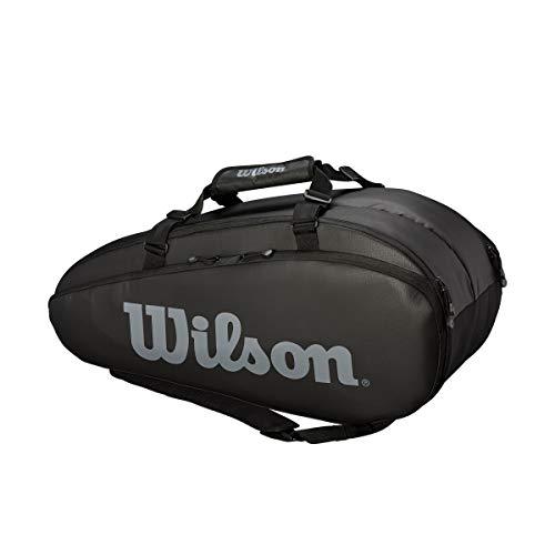Wilson Tour 2 Comp, Borsa da Tennis Unisex-Adulto, Nero/Grigio, 9 Racchette