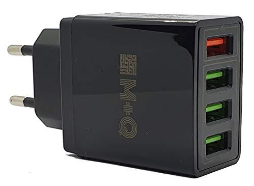 M+Q Cargador USB, Quick Charge 3.0 30W Cargador USB de Pared con 4 Puertos, Cargador Móvil Rápido de Pared Color Negro