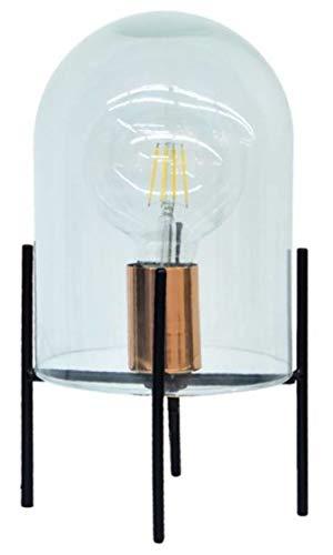 Sortio Home Lámpara de mesa LED de 50 cm de acero/cristal negro/transparente.