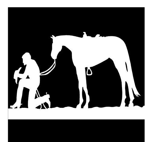Pegatinas Coche 15,6 Cm * 10 Cm Vaquero Rezando Y Silla De Montar De Caballo Cuerda Pony Mustang Moda Vinilo Calcomanía Coche Pegatina Negro/Plata