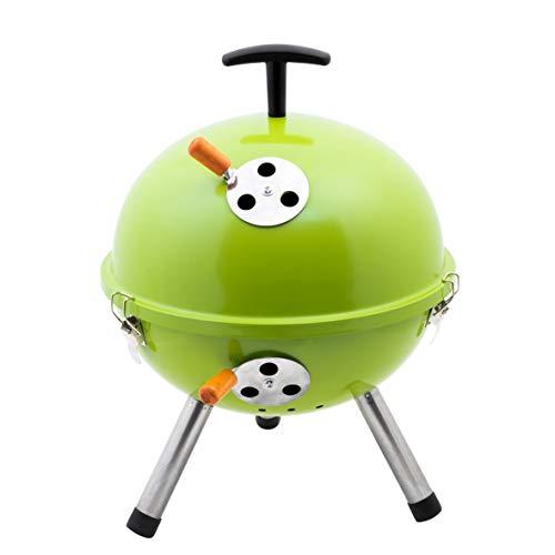 Kamino BBQ Mini-bola BBQ con tres patas, Barbacoa para acampar con mini parrilla de acero y sistema de admisión de aire, color verde, Ø aprox. 32 cm, Altura aprox. 42 cm
