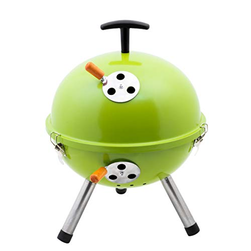 Kamino BBQ Mini-Kugelgrill auf 3 Beinen, Mini-Grill aus Stahl, Camping-Kugelgrill mit Grillrost und Luftzufuhrsystem, grün, Ø ca. 32 cm, H ca. 42 cm