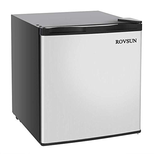 ROVSUN 1.1 CU FT Upright Freezer with Reversible Stainless Steel Single Door, Removable Shelf