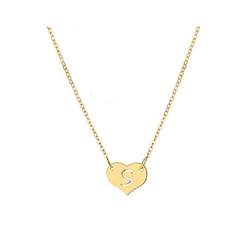 WLLAY Tiny Gold Heart Initial Necklace Dainty Personalized Letter Necklace Name Jewelry for Women (Gold S)