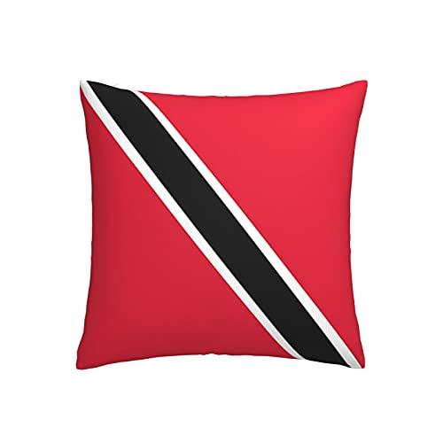 Kissenbezug mit Flagge von Trinidad & Tobago, quadratisch, dekorativer Kissenbezug für Sofa, Couch, Zuhause, Schlafzimmer, Innen- & Außenbereich, 45,7 x 45,7 cm