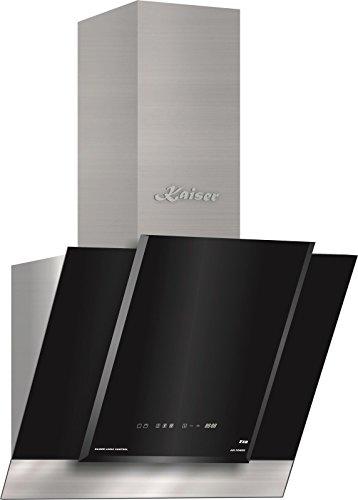 Kaiser AT 6438 ECO Exklusive Dunstabzugshaube 60cm kopffrei/Edelstahl Wandhaube /910m³/h/Schwarz Glas/kopffreihaube/ TouchControl/LED Bildschirm/Abzugshaube/ Timer/Umluftset/Abluft/Umlufthaube