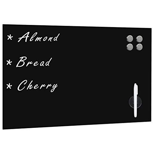Tidyard Pizarra magnética de Pared Negra Vidrio 60x40 cm