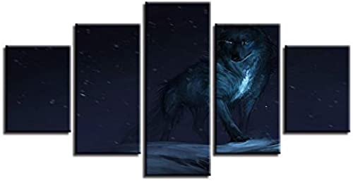 compras en linea BAIF BAIF BAIF 5 Piezas Lienzo de Pintura Moderna Lienzo Modular HD Cuadros Poster 5 Piezas de impresión Animal Lobo Escena Nocturna Pintura de la Parojo Arte decoración Marco  almacén al por mayor