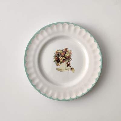 weichuang Plato para tartas, platos de postre, estilo pastoral, de cerámica, platos de servicio para el hogar, vajilla retro de boda (color: 15,24 cm, lado verde)