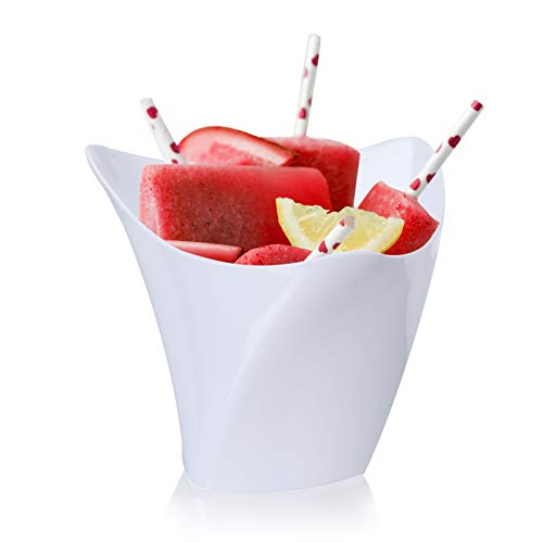 50 Pcs/set Dessert Cups - Mini Cubes Clear Tasting Sample Glass Containers Elegant Square Plastic Bowls Disposable, 4.5 oz/White