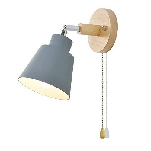 SHENGXUAN - Lámpara de pared LED para interiores de madera, lámpara de pared decorativa E27, lámpara de pared de cabecera, dormitorio corredor apliques con interruptor giratorio libremente (gris)