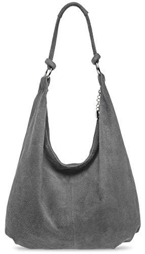 Caspar TL617 große Damen Vintage Veloursleder Tasche (dunkelgrau)
