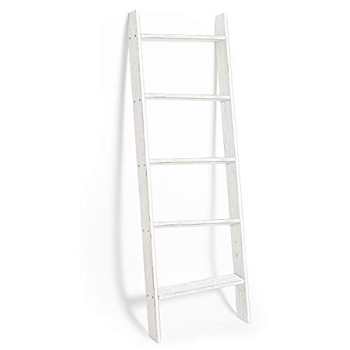 Ilyapa Blanket Ladder for the Living Room - Rustic Decorative Quilt Ladder, White Weathered Wood