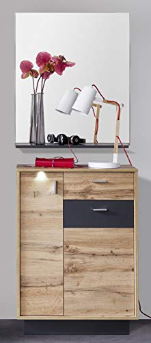 trendteam smart living Garderobe Garderobenkombination 2-teiliges Komplett Set Coast, 69 x 190 x 35 cm in Wotan Eiche Dekor, Absetzung Ablage Grau mit LED Beleuchtung