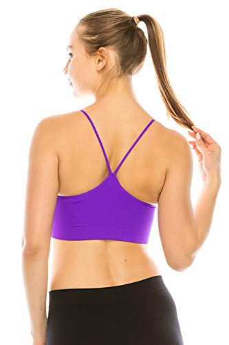 Kurve Women's Sports Bra Cami - Seamless Built-in Shelf Padded Camisole Workout Tank Top Removable Pads UPF 50+ Made in USA Neon Purple