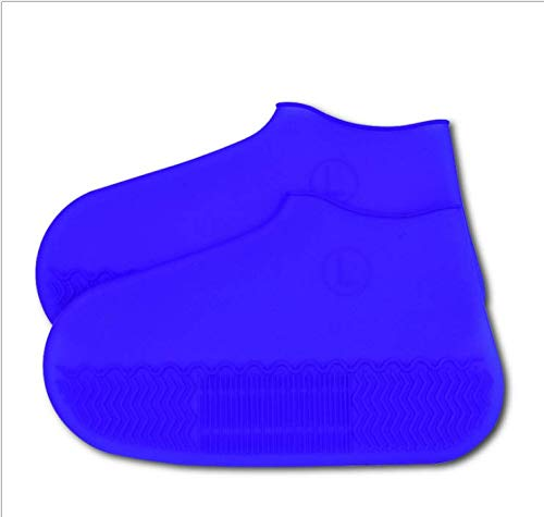 SE - Funda impermeable para botas y zapatos, resistente al agua y al agua y al agua para zapatos de goma de sílice con barro de nieve, versión más gruesa, a prueba de desgaste, antideslizante, plegable y reutilizable, color azul, tamaño medium