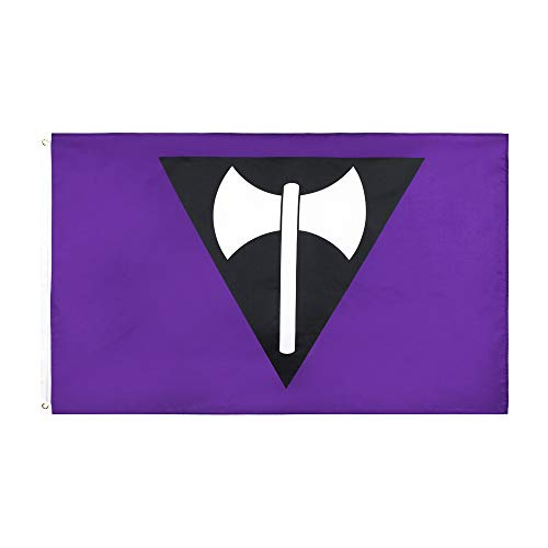 LOYOKI Purple Axe Flag Indoor Outdoor Decor Lesbian Pride Banner 3x5 Feet Flags with Brass Grommets