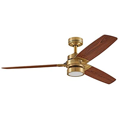 "Rivet Modern AC Motor, Remote Control, 18W LED Ceiling Fan, 12.5""H, Brushed Nickel"