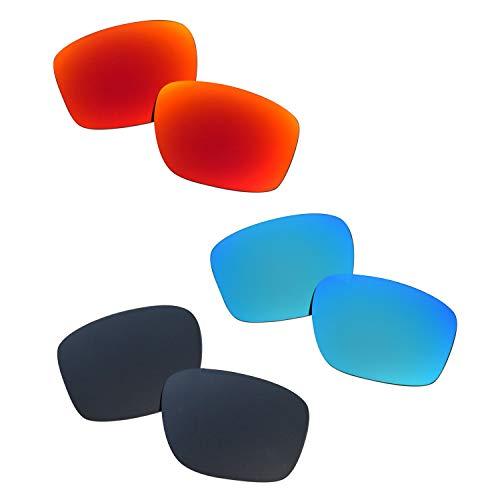 SOODASE Para Oakley Sliver Gafas de sol Rojo/Azul/Negro Lentes de repuesto polarizadas