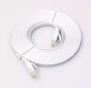 Durable pingCAT 6 Cable LAN 0.5/1/2/3/5/10/15/20 / 25M RJ45 CAT6 8P8C Flat Ethernet Patch Network LAN Cable Azul en existencia - (Longitud del Cable: 5m, Color: Blanco) (Color : 10m/White)